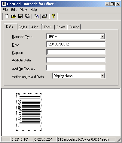 Utility that generates barcode images for Microsoft Office and other documents.